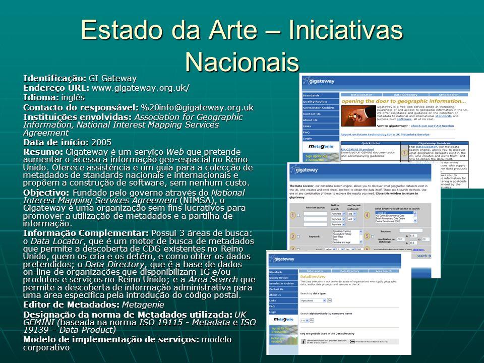 Estado da Arte – Iniciativas Nacionais Identificação: GI Gateway Endereço URL: www.gigateway.org.uk/ Idioma: inglês Contacto do responsável: %20info@g