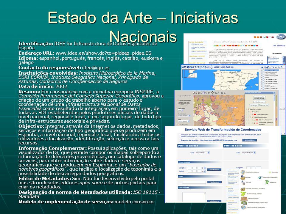 Estado da Arte – Iniciativas Nacionais Identificação: IDEE for Infraestrutura de Datos Espaciales de España Endereço URL: www.idee.es/show.do?to=pidee
