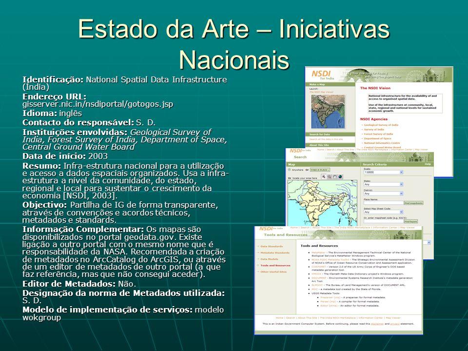 Estado da Arte – Iniciativas Nacionais Identificação: National Spatial Data Infrastructure (Índia) Endereço URL: gisserver.nic.in/nsdiportal/gotogos.j