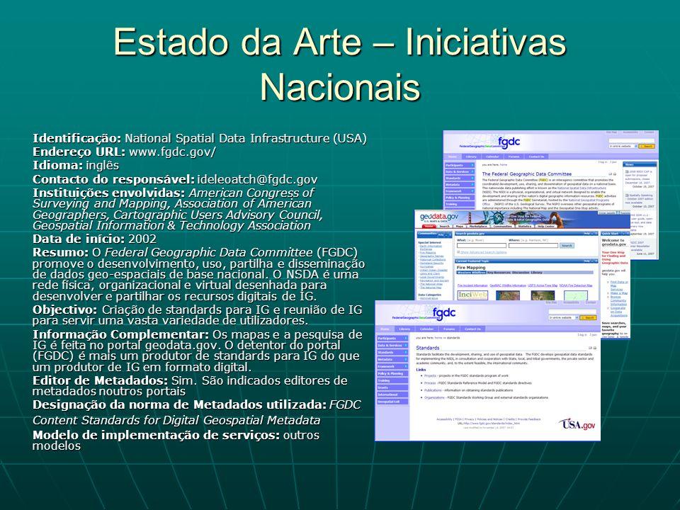 Estado da Arte – Iniciativas Nacionais Identificação: National Spatial Data Infrastructure (USA) Endereço URL: www.fgdc.gov/ Idioma: inglês Contacto d