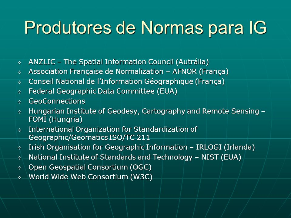 Produtores de Normas para IG ANZLIC – The Spatial Information Council (Autrália) ANZLIC – The Spatial Information Council (Autrália) Association Franç