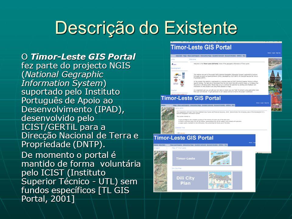 Descrição do Existente O Timor-Leste GIS Portal fez parte do projecto NGIS (National Gegraphic Information System) suportado pelo Instituto Português