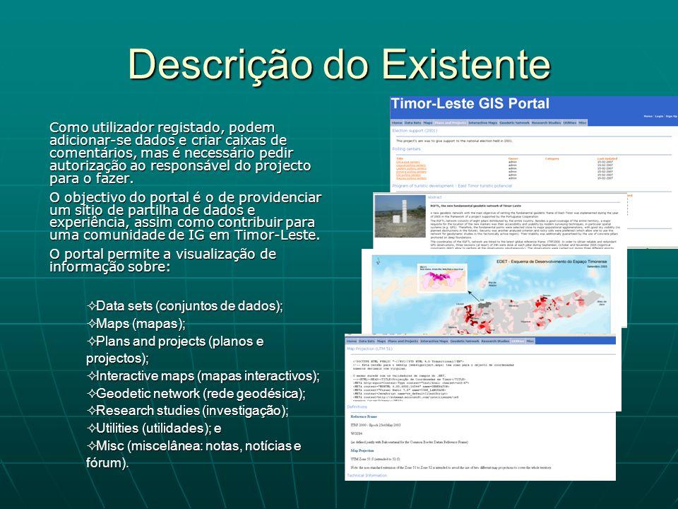 Descrição do Existente Como utilizador registado, podem adicionar-se dados e criar caixas de comentários, mas é necessário pedir autorização ao respon