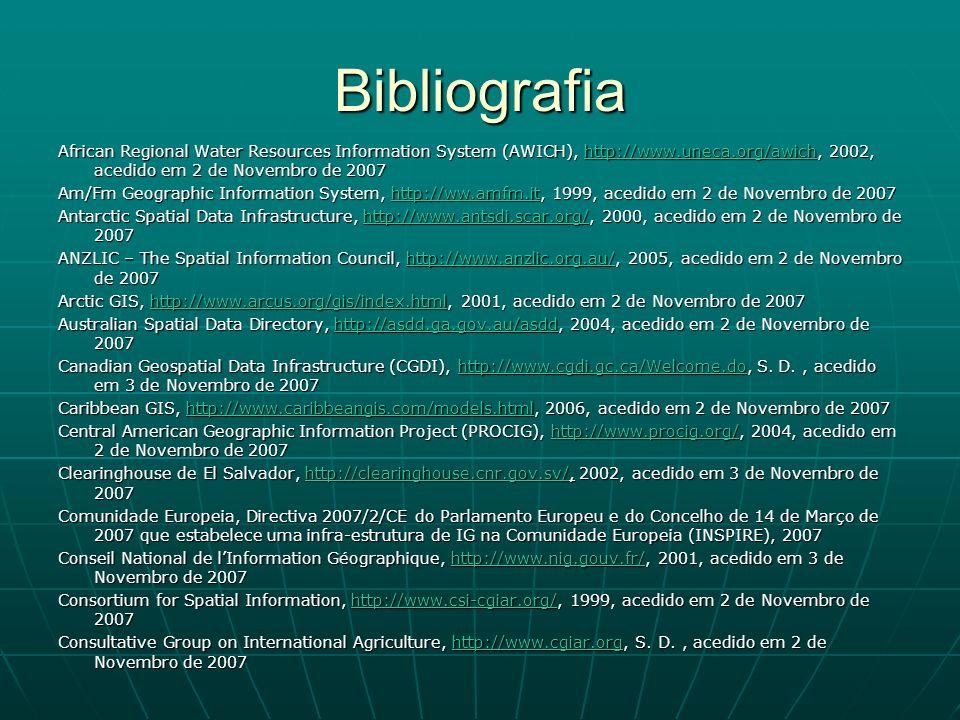 Bibliografia African Regional Water Resources Information System (AWICH), http://www.uneca.org/awich, 2002, acedido em 2 de Novembro de 2007 www.uneca