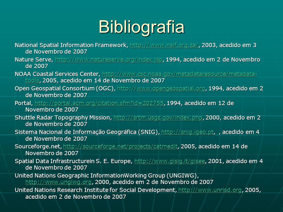 Bibliografia National Spatial Information Framework, http:// www.nsif.org.za/, 2003, acedido em 3 de Novembro de 2007 ww.nsif.org.za/ww.nsif.org.za/ N
