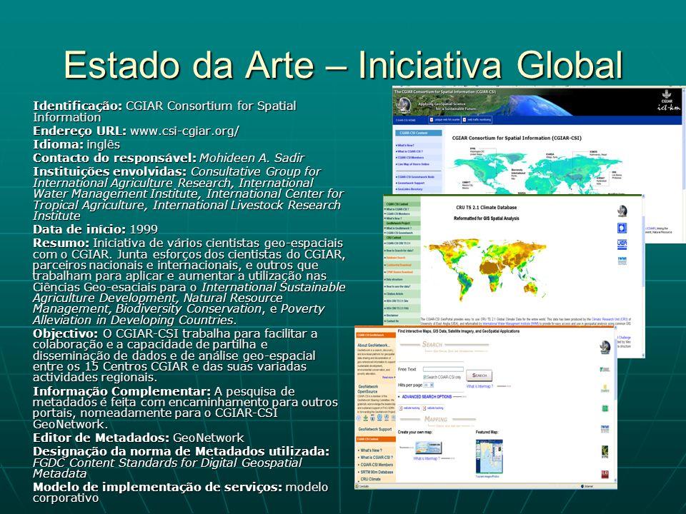 Estado da Arte – Iniciativa Global Identificação: CGIAR Consortium for Spatial Information Endereço URL: www.csi-cgiar.org/ Idioma: inglês Contacto do