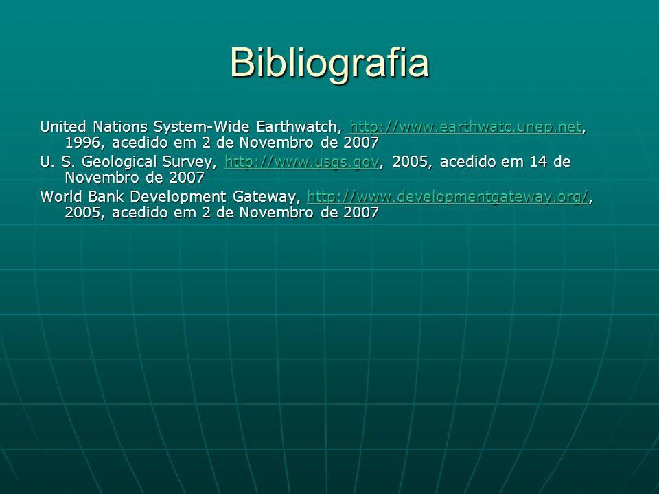 Bibliografia United Nations System-Wide Earthwatch, http://www.earthwatc.unep.net, 1996, acedido em 2 de Novembro de 2007 www.earthwatc.unep.net U. S.