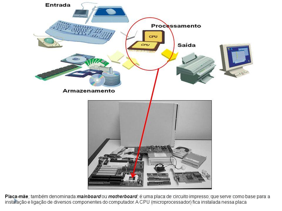 Placa-mãe, também denominada mainboard ou motherboard, é uma placa de circuito impresso, que serve como base para a instalação e ligação de diversos c
