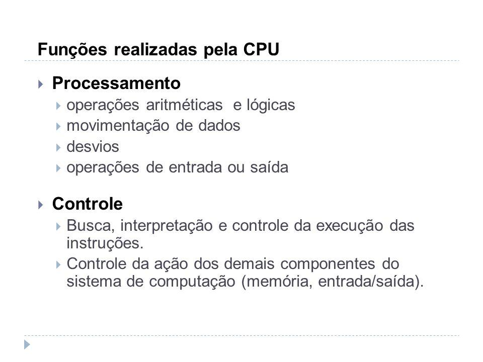 Funções realizadas pela CPU Processamento operações aritméticas e lógicas movimentação de dados desvios operações de entrada ou saída Controle Busca,