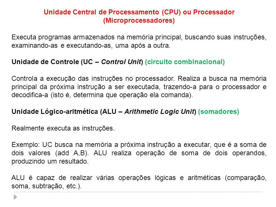 Unidade Central de Processamento (CPU) ou Processador (Microprocessadores) Executa programas armazenados na memória principal, buscando suas instruçõe