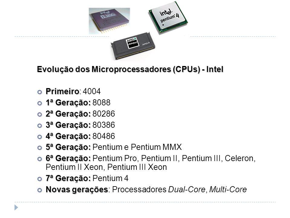 Evolução dos Microprocessadores (CPUs) - Intel Primeiro Primeiro: 4004 1ª Geração: 1ª Geração: 8088 2ª Geração: 2ª Geração: 80286 3ª Geração: 3ª Geraç