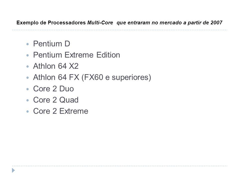 Exemplo de Processadores Multi-Core que entraram no mercado a partir de 2007 Pentium D Pentium Extreme Edition Athlon 64 X2 Athlon 64 FX (FX60 e super