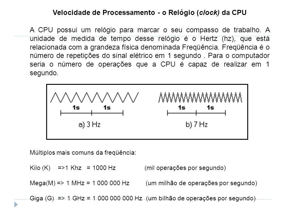 Velocidade de Processamento - o Relógio (clock) da CPU A CPU possui um relógio para marcar o seu compasso de trabalho. A unidade de medida de tempo de
