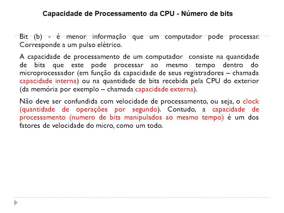 Bit (b) - é menor informação que um computador pode processar. Corresponde a um pulso elétrico. A capacidade de processamento de um computador consist