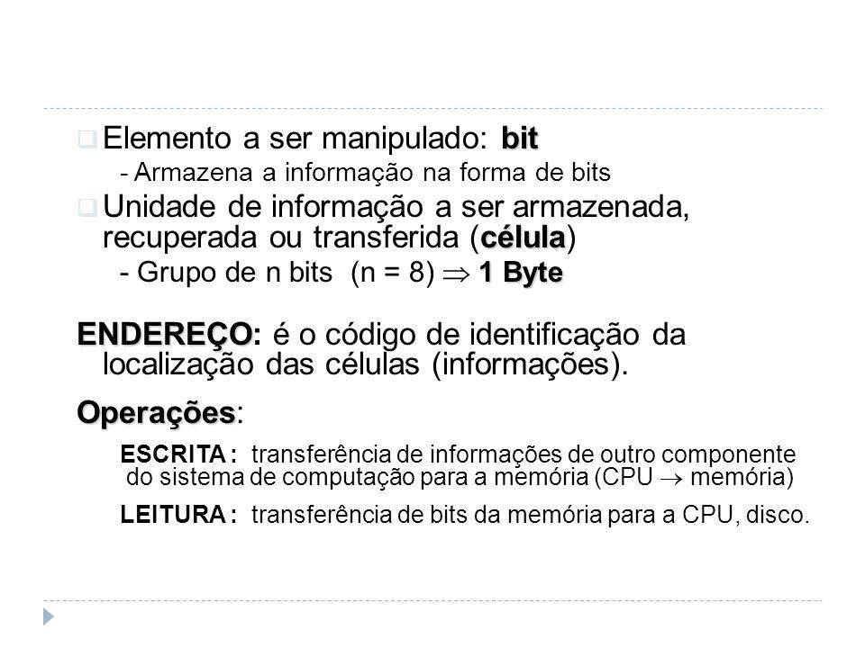 bit Elemento a ser manipulado: bit - Armazena a informação na forma de bits célula Unidade de informação a ser armazenada, recuperada ou transferida (