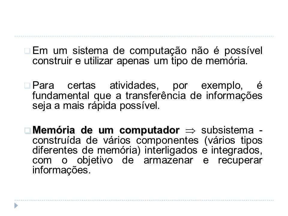 Em um sistema de computação não é possível construir e utilizar apenas um tipo de memória. Para certas atividades, por exemplo, é fundamental que a tr