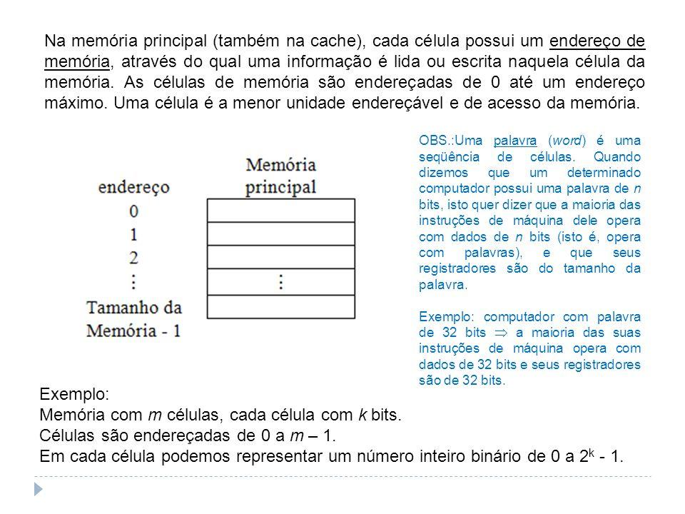 Exemplo: Memória com m células, cada célula com k bits. Células são endereçadas de 0 a m – 1. Em cada célula podemos representar um número inteiro bin