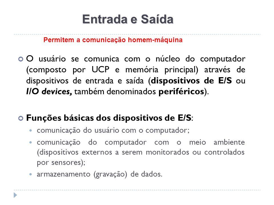 Entrada e Saída, O usuário se comunica com o núcleo do computador (composto por UCP e memória principal) através de dispositivos de entrada e saída (d