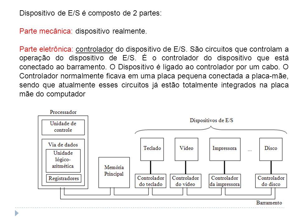 Dispositivo de E/S é composto de 2 partes: Parte mecânica: dispositivo realmente. Parte eletrônica: controlador do dispositivo de E/S. São circuitos q