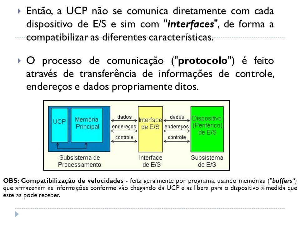 Então, a UCP não se comunica diretamente com cada dispositivo de E/S e sim com