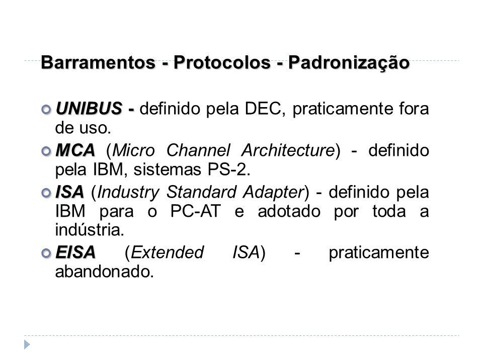 Barramentos - Protocolos - Padronização UNIBUS - UNIBUS - definido pela DEC, praticamente fora de uso. MCA MCA (Micro Channel Architecture) - definido