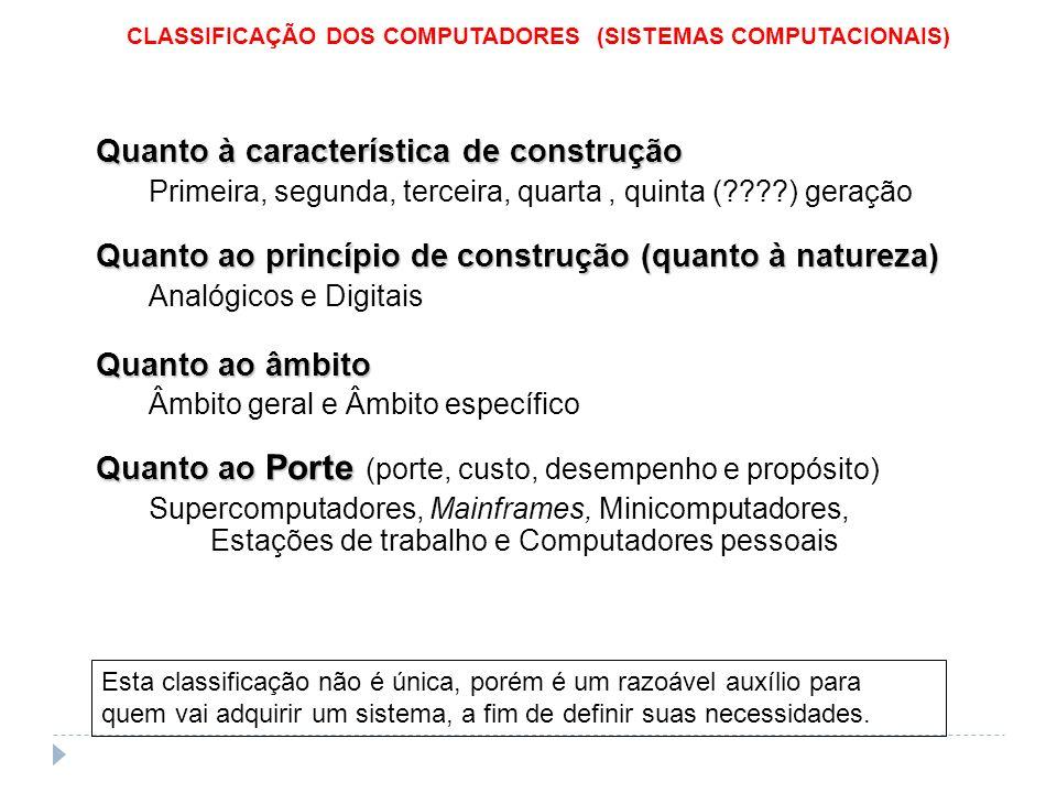 Quanto à característica de construção Primeira, segunda, terceira, quarta, quinta (????) geração Quanto ao princípio de construção (quanto à natureza)