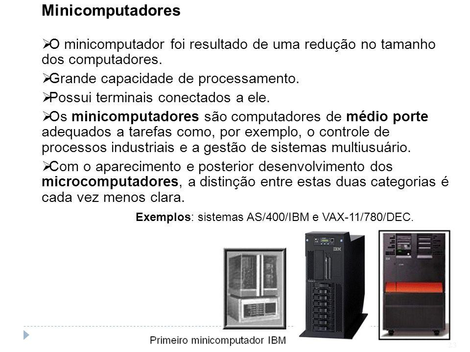 Minicomputadores O minicomputador foi resultado de uma redução no tamanho dos computadores. Grande capacidade de processamento. Possui terminais conec