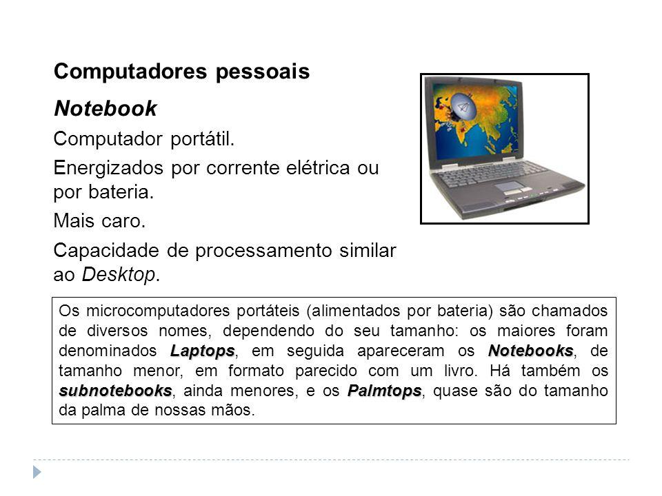 Computadores pessoais Notebook Computador portátil. Energizados por corrente elétrica ou por bateria. Mais caro. Capacidade de processamento similar a