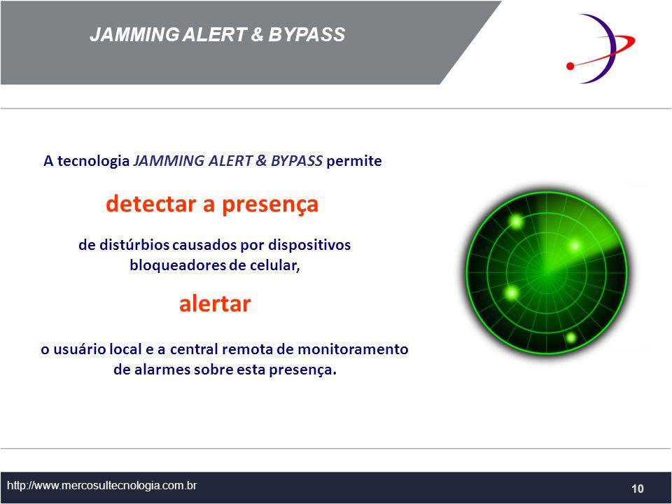 A tecnologia JAMMING ALERT & BYPASS permite JAMMING ALERT & BYPASS http://www.mercosultecnologia.com.br detectar a presença de distúrbios causados por dispositivos bloqueadores de celular, 10 alertar o usuário local e a central remota de monitoramento de alarmes sobre esta presença.