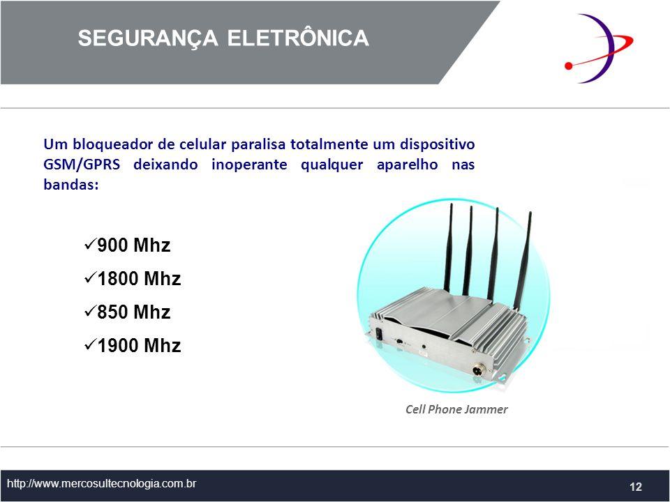 Um bloqueador de celular paralisa totalmente um dispositivo GSM/GPRS deixando inoperante qualquer aparelho nas bandas: SEGURANÇA ELETRÔNICA http://www.mercosultecnologia.com.br 900 Mhz 1800 Mhz 850 Mhz 1900 Mhz Cell Phone Jammer 12