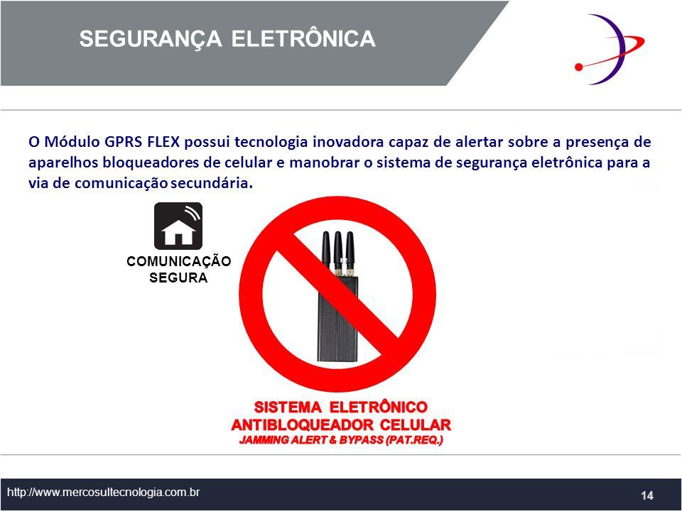 SEGURANÇA ELETRÔNICA http://www.mercosultecnologia.com.br O Módulo GPRS FLEX possui tecnologia inovadora capaz de alertar sobre a presença de aparelhos bloqueadores de celular e manobrar o sistema de segurança eletrônica para a via de comunicação secundária.