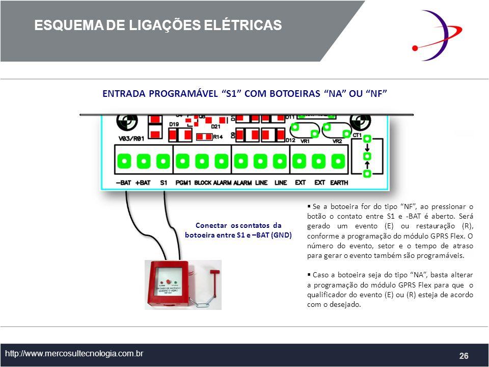 http://www.mercosultecnologia.com.br ENTRADA PROGRAMÁVEL S1 COM BOTOEIRAS NA OU NF Conectar os contatos da botoeira entre S1 e –BAT (GND) Se a botoeira for do tipo NF, ao pressionar o botão o contato entre S1 e -BAT é aberto.
