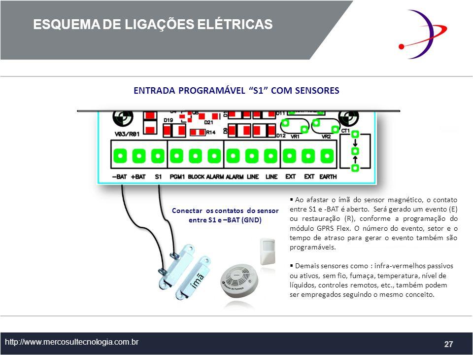 http://www.mercosultecnologia.com.br ENTRADA PROGRAMÁVEL S1 COM SENSORES Conectar os contatos do sensor entre S1 e –BAT (GND) Ao afastar o ímã do sensor magnético, o contato entre S1 e -BAT é aberto.