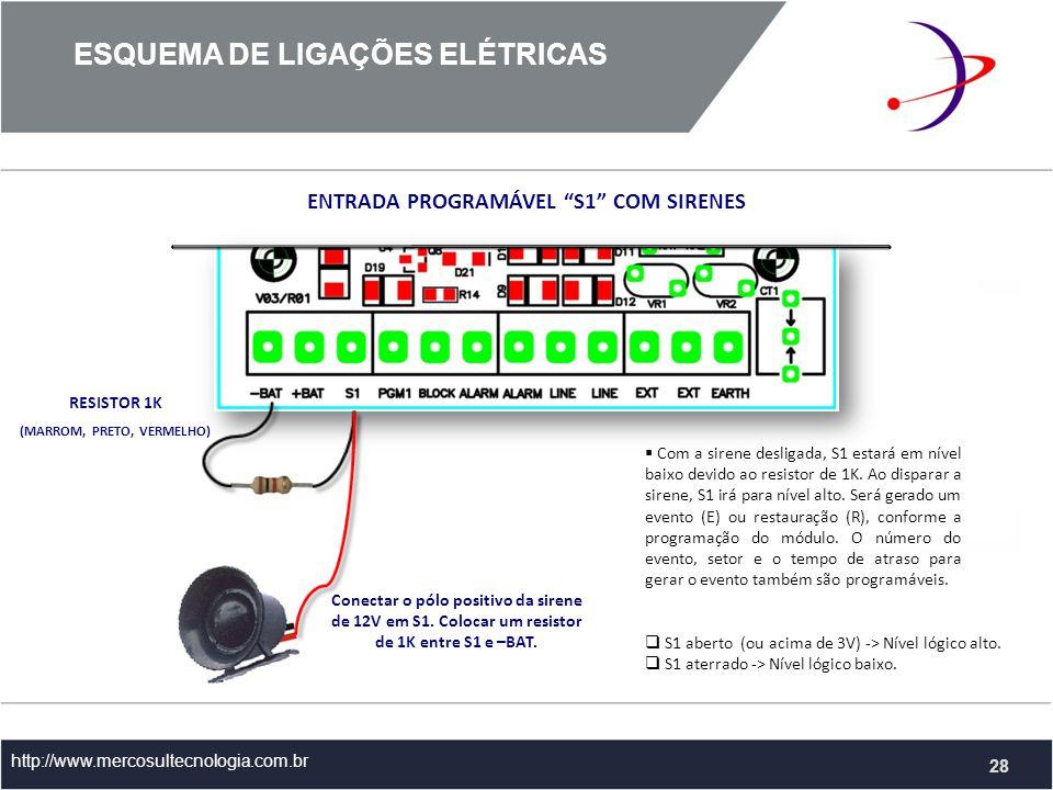 http://www.mercosultecnologia.com.br ENTRADA PROGRAMÁVEL S1 COM SIRENES Conectar o pólo positivo da sirene de 12V em S1.