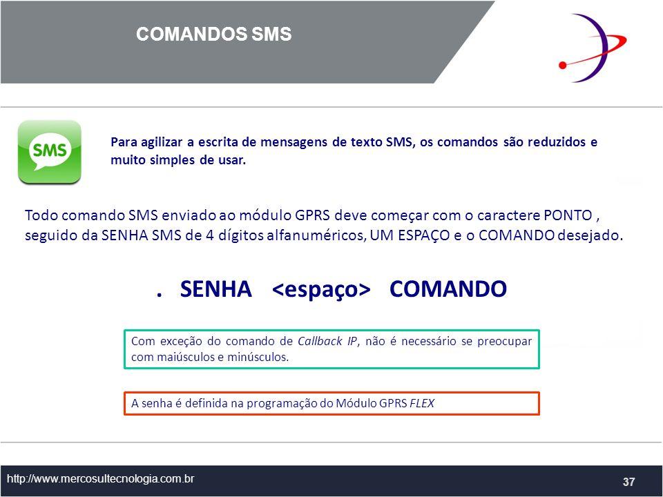 COMANDOS SMS http://www.mercosultecnologia.com.br Para agilizar a escrita de mensagens de texto SMS, os comandos são reduzidos e muito simples de usar.