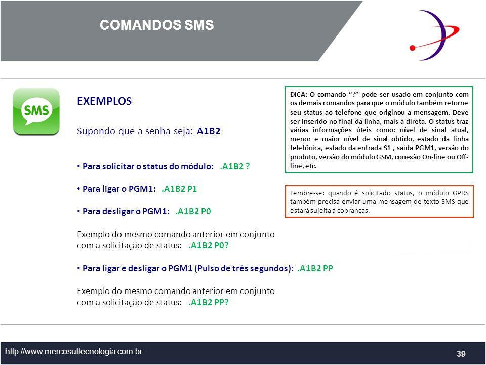 COMANDOS SMS http://www.mercosultecnologia.com.br EXEMPLOS Supondo que a senha seja: A1B2 Para solicitar o status do módulo:.A1B2 .