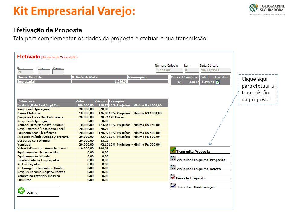 Efetivação da Proposta Tela para complementar os dados da proposta e efetuar e sua transmissão. Clique aqui para efetuar a transmissão da proposta. Ki