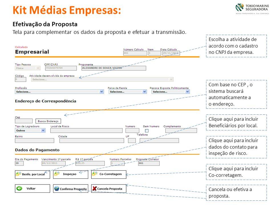 Efetivação da Proposta Tela para complementar os dados da proposta e efetuar a transmissão. Escolha a atividade de acordo com o cadastro no CNPJ da em