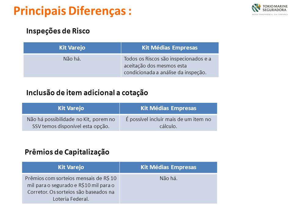 Principais Diferenças : Kit VarejoKit Médias Empresas Não há.Todos os Riscos são inspecionados e a aceitação dos mesmos esta condicionada a análise da