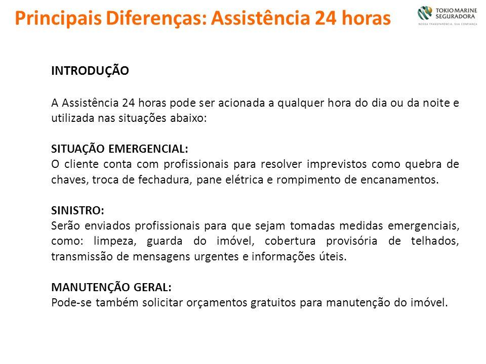 Principais Diferenças: Assistência 24 horas INTRODUÇÃO A Assistência 24 horas pode ser acionada a qualquer hora do dia ou da noite e utilizada nas sit