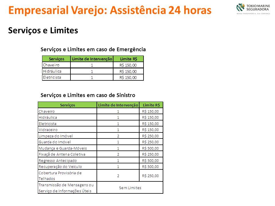 Empresarial Varejo: Assistência 24 horas Serviços e Limites Serviços e Limites em caso de Emergência Serviços e Limites em caso de Sinistro