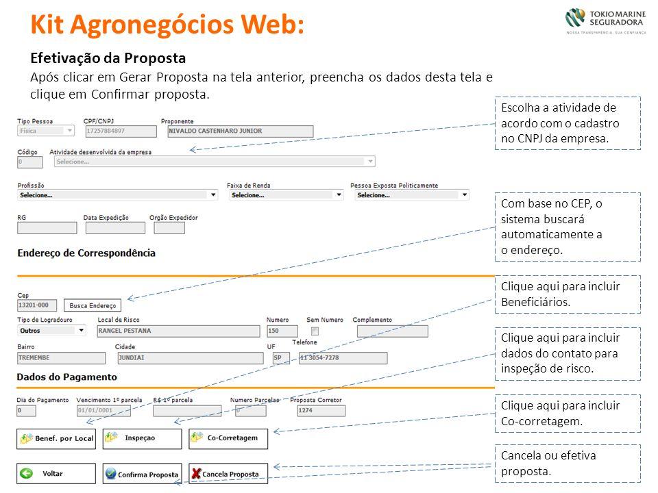 Efetivação da Proposta Após clicar em Gerar Proposta na tela anterior, preencha os dados desta tela e clique em Confirmar proposta. Escolha a atividad