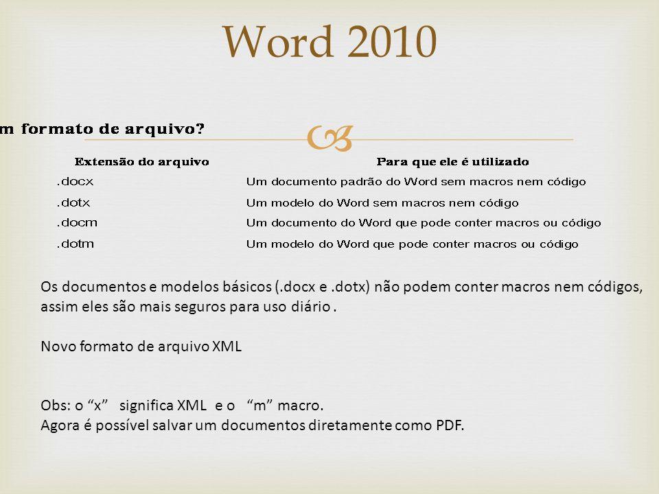 Word 2010 Atalhos de Teclado Pressione ALT para exibir as identificações de Dicas de Teclas para as guias da Faixa de Opções, o Botão Microsoft Office
