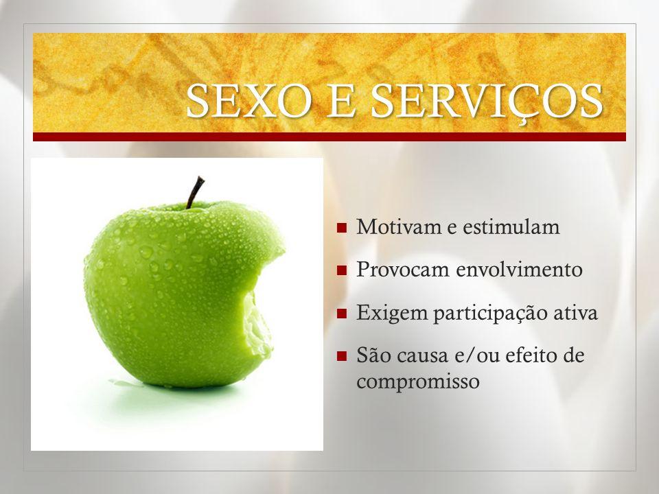 SEXO E SERVIÇOS Estimulam aprofundamento Buscam a melhoria contínua Necessitam preparação para alcançar resultados A falta da inovação gera oportunidades para a concorrência