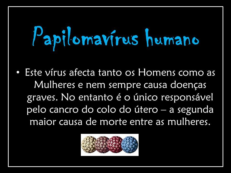 Papilomavírus humano Este vírus afecta tanto os Homens como as Mulheres e nem sempre causa doenças graves. No entanto é o único responsável pelo cancr