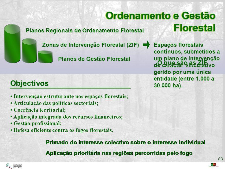Espaços florestais contínuos, submetidos a um plano de intervenção de carácter vinculativo gerido por uma única entidade (entre 1.000 a 30.000 ha). In