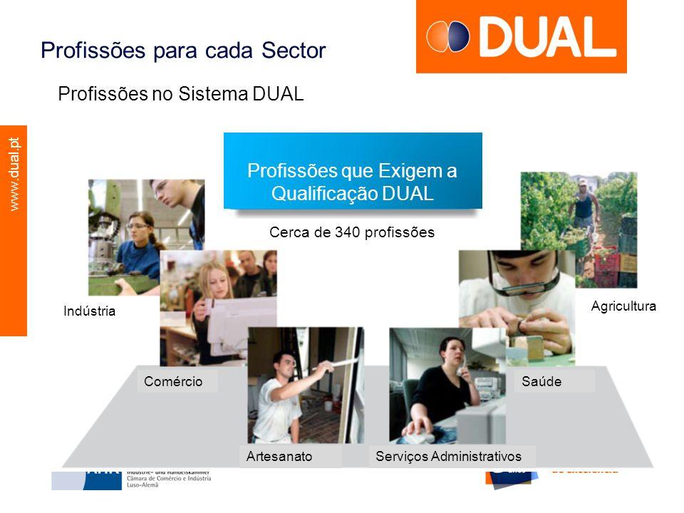 www.dual.pt Profissões para cada Sector Profissões no Sistema DUAL Profissões que Exigem a Qualificação DUAL Cerca de 340 profissões Indústria Comérci