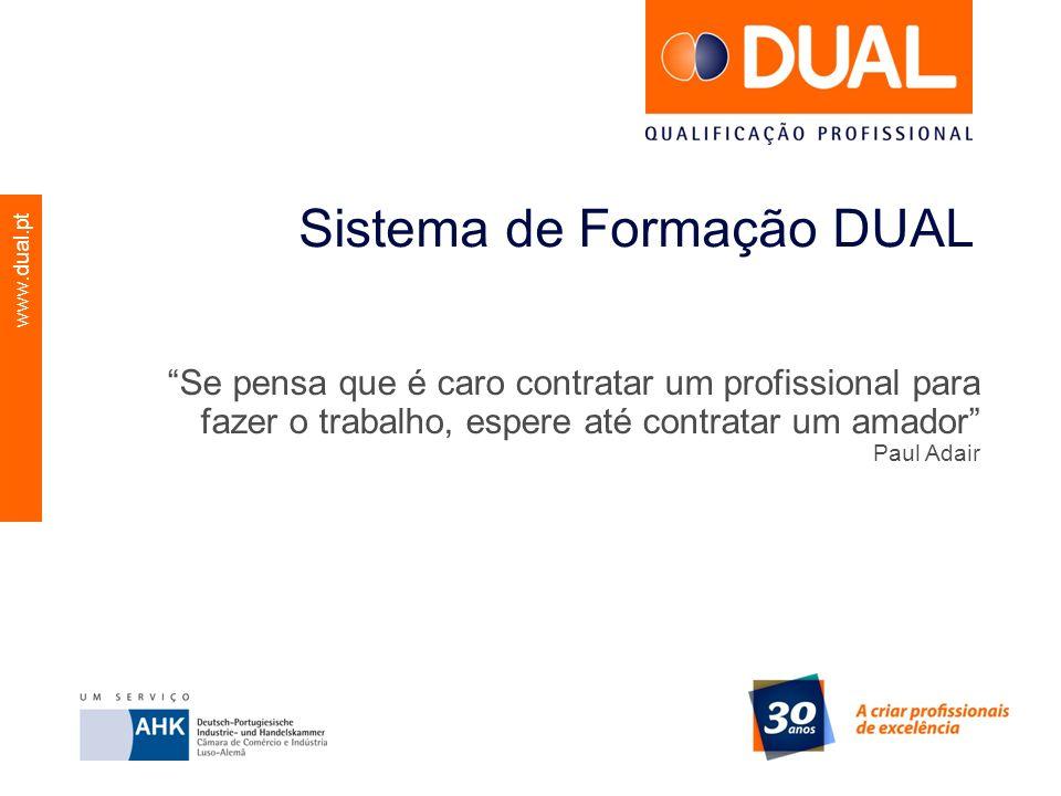 www.dual.pt Sistema de Formação DUAL Se pensa que é caro contratar um profissional para fazer o trabalho, espere até contratar um amador Paul Adair