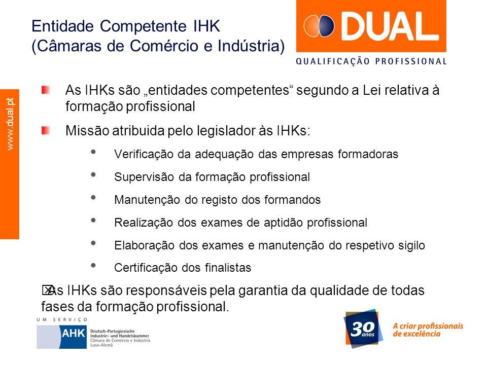 www.dual.pt Entidade Competente IHK (Câmaras de Comércio e Indústria) As IHKs são entidades competentes segundo a Lei relativa à formação profissional