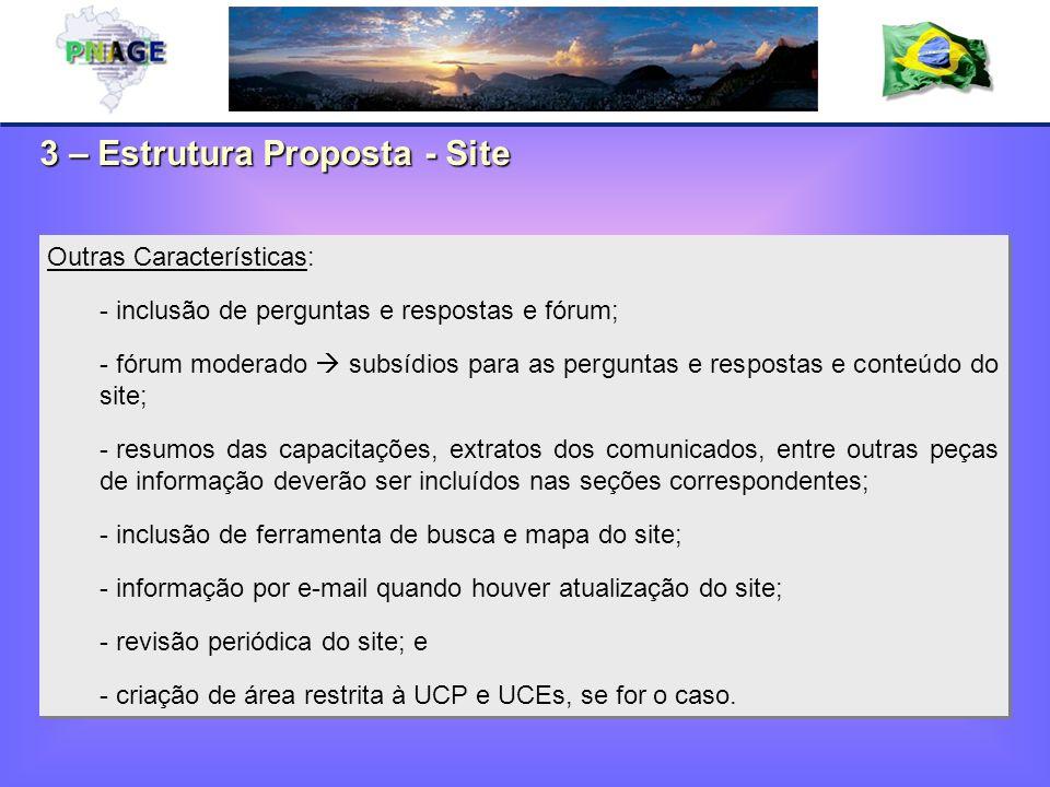3 – Estrutura Proposta - Site Outras Características: - inclusão de perguntas e respostas e fórum; - fórum moderado subsídios para as perguntas e resp
